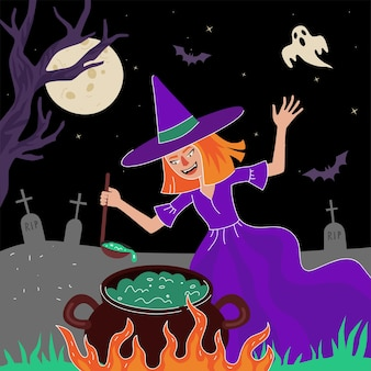 Happy halloween holiday square design greeting card witch cooking magic poisonous in cauldron