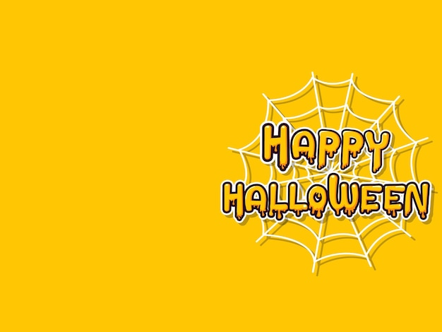 Happy halloween horizontal banner with lettering yellow-orange adn spider web on a yellow-orange background.  vector illustration
