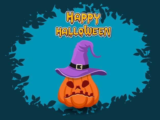 Happy halloween horizontal banner with lettering yellow-orange adn with pumpkin on a blue background. vector illustration