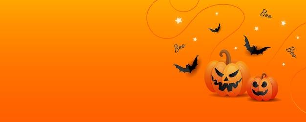 幸せなハロウィーンのホラーストーリー。オレンジ色のトリックまたはオレンジ色の背景にカボチャと色のキャンディー、コウモリを扱う幸せなハロウィーンの背景テンプレート。