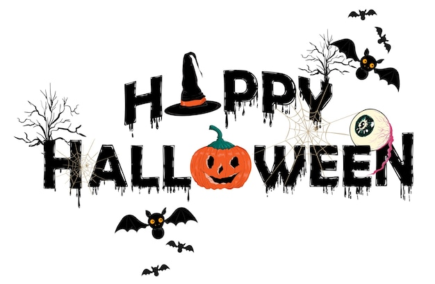 Happy halloween horror typo  vector illustration