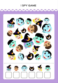 Happy halloween i spy math game for kids with monsters mathematical practice education gam