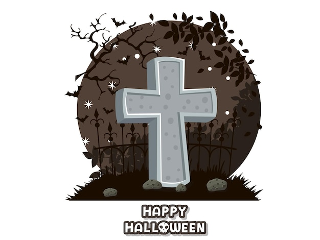 Happy halloween. icon with the image of tombstones. gravestone cemetery symbol. greeting card, party invitation. color background vector illustration