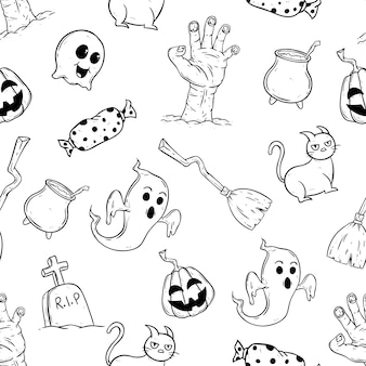 Happy halloween icons in seamless pattern with hand drawn style