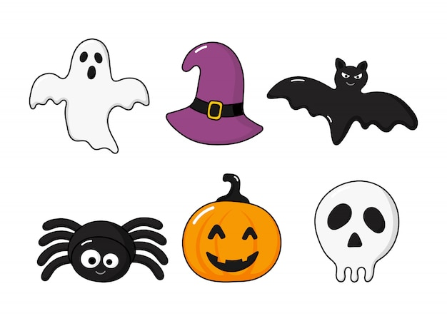 Happy halloween icons set isolated on white