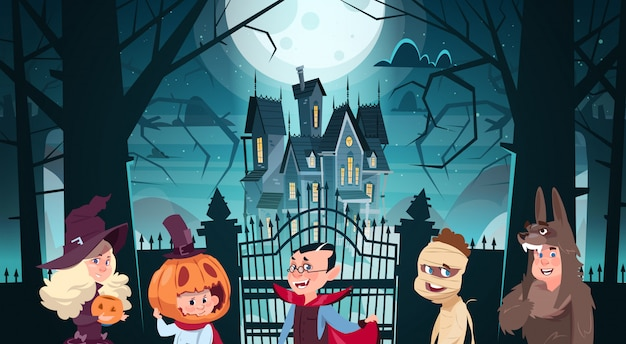 Happy halloween illustration with cute cartoon monsters walking to dark castle with ghosts