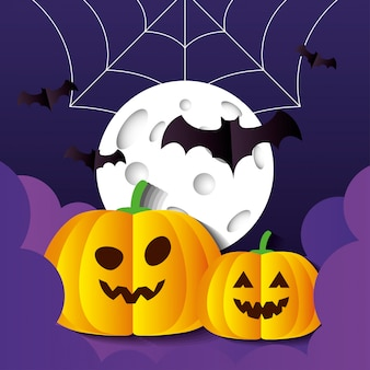 Happy halloween illustration, with pumpkins, bats flying, full moon, spiderweb and clouds in paper cut style