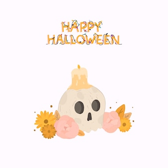 頭蓋骨とキャンドルで幸せなハロウィーンイラスト