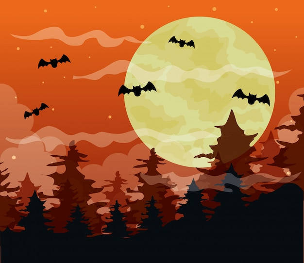 Happy halloween illustration with spooky forest and bats flying