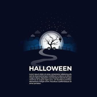 Счастливый хэллоуин ночью на открытом воздухе
