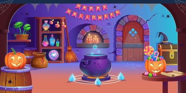 ハッピーハロウィン。ドア、大釜、カボチャ、キャンディー、ウィッチハット、マジックボール、ポーション、ほうき、ヒタキ、クモ、キャンドルのハロウィーンの部屋のインテリア。ゲームやモバイルアプリケーションの背景。