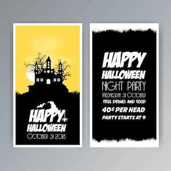 Happy halloween invitation brochure design vector