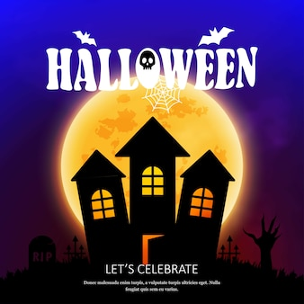 Happy halloween invitation card with creative design vector