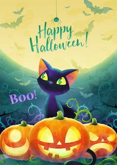 해피 할로윈 초대 개념입니다. 달과 녹색 배경에 만화 검은 고양이 얼굴 호박 박쥐와 거미. 인사말 카드 배너 및 포스터입니다. 수채화 디자인. 삽화. a4 사이즈.