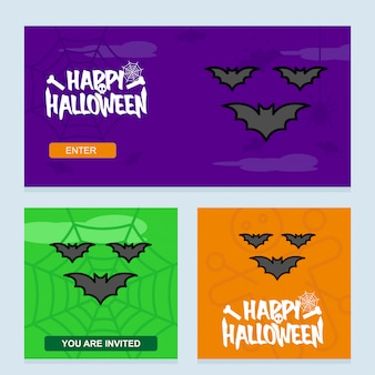 Happy halloween invitation design with bats vector