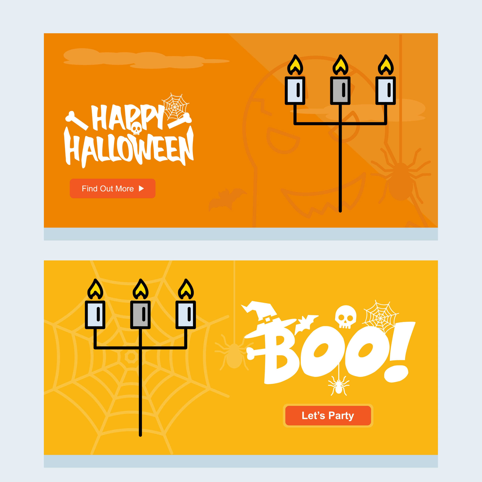 Happy Halloween invitation design with candle vector