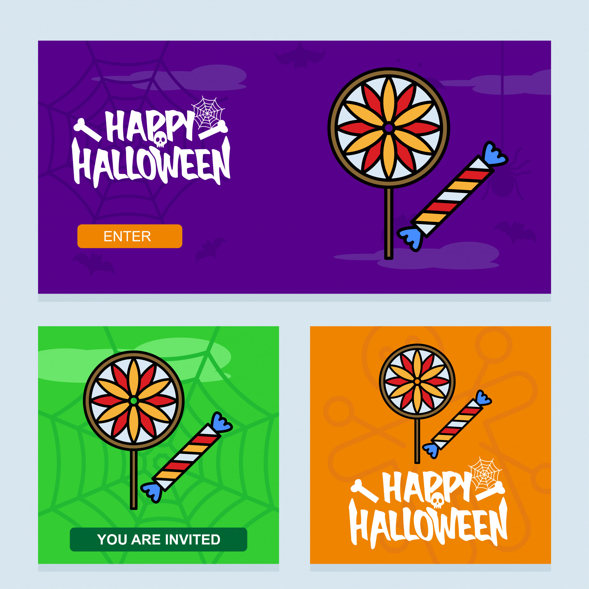 Happy Halloween invitation design with candy vector