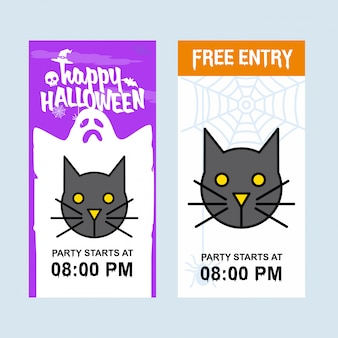 Happy halloween invitation design with cat vector