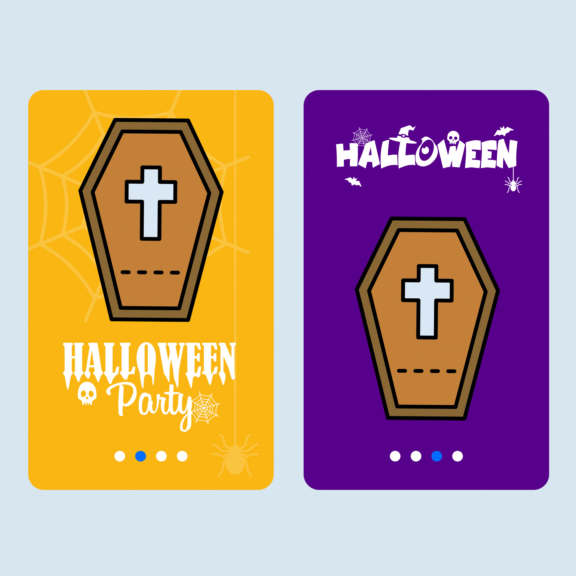 Happy Halloween invitation design with coffins vector