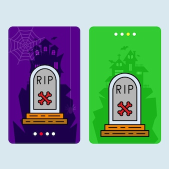 Happy halloween invitation design with grave vector