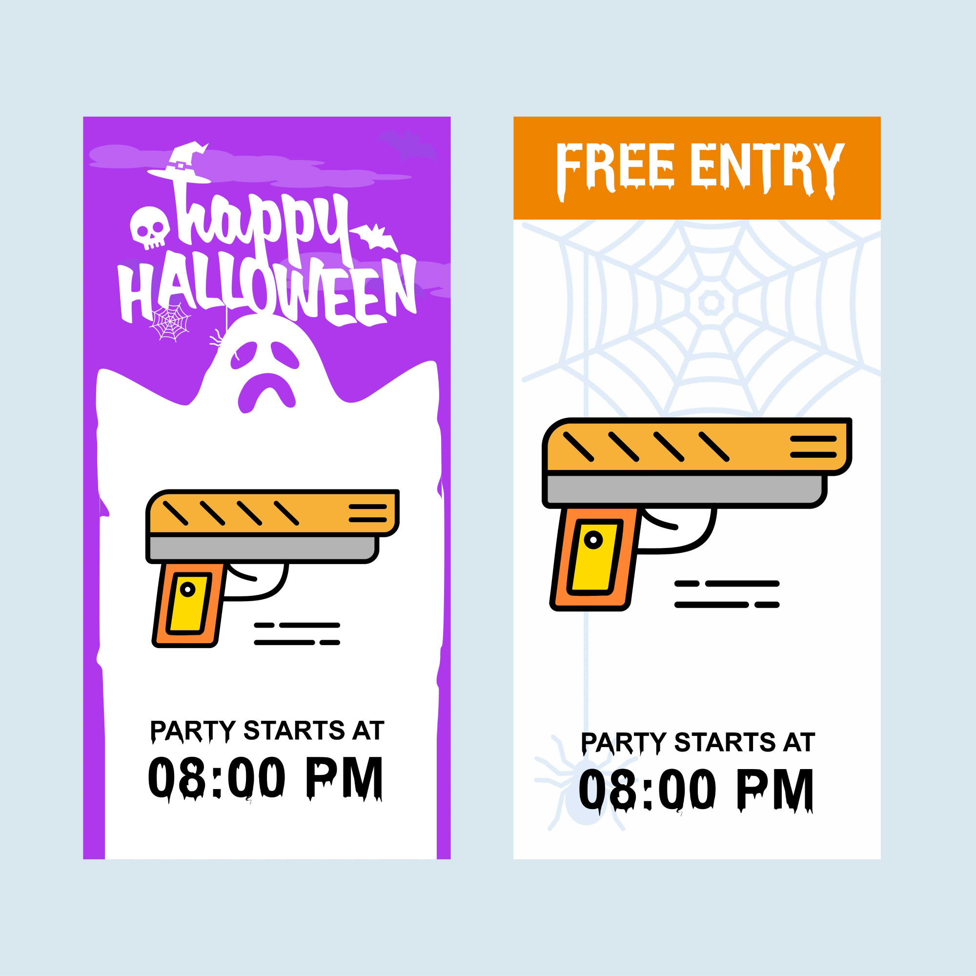 Happy Halloween invitation design with gun vector
