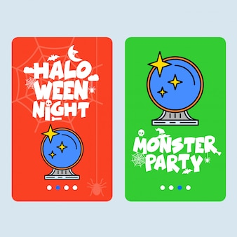 Happy halloween invitation design with mirror vector