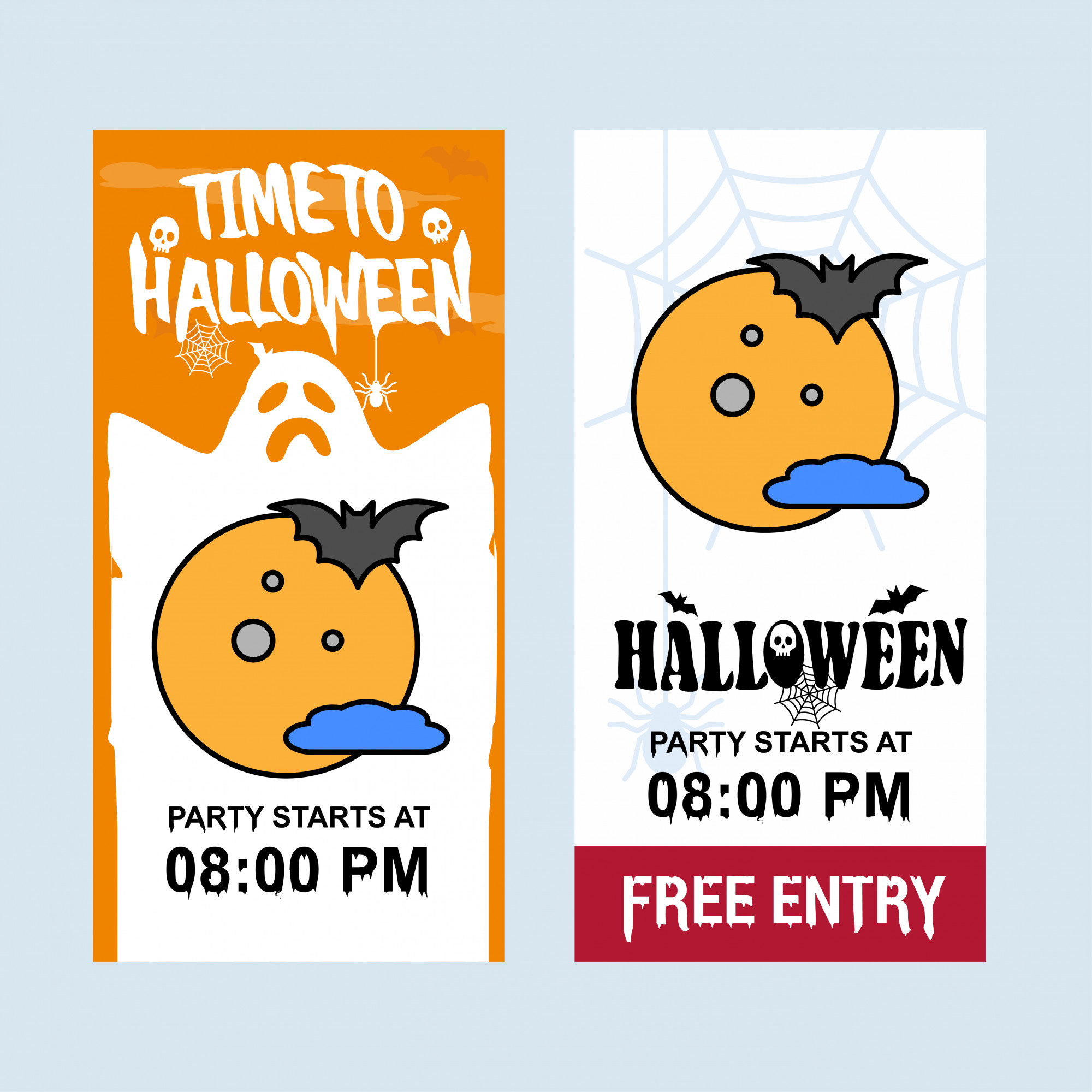 Happy Halloween invitation design with moon vector