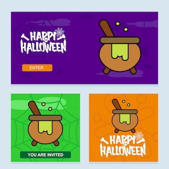 Happy halloween invitation design with pot vector