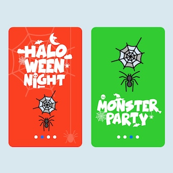 Happy halloween invitation design with spider vector