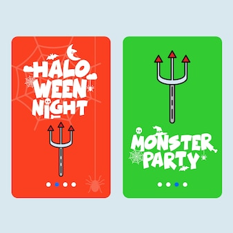 Happy halloween invitation design with trident vector