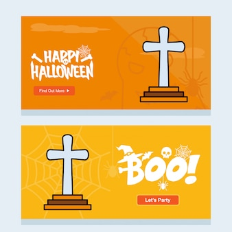 Happy halloween invitation  with grave