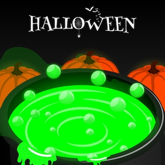 Happy halloween isometric cauldron pumkin vector
