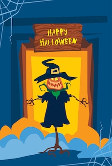 Happy halloween jack lantern trick or treat concept holiday greeting card