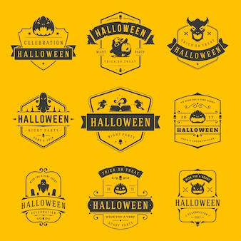 Happy halloween labels and badges or logos design set vintage