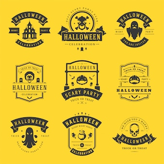 Happy halloween labels and badges set