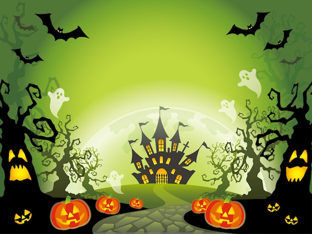 Happy halloween  landscape illustration with text space.