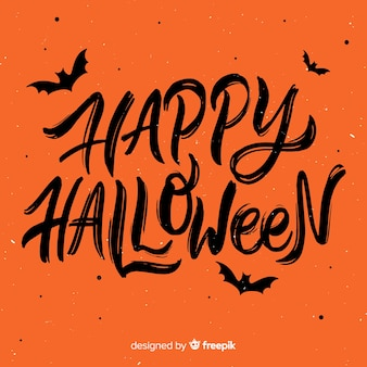Happy halloween lettering background concept