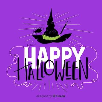 Happy halloween lettering background with witch hat