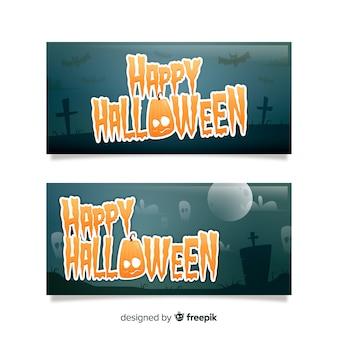 Happy halloween lettering banner