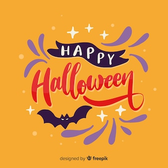 Happy halloween lettering and bat