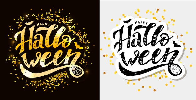 Happy halloween lettering calligraphy brush text holiday  sticker
