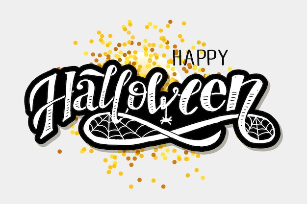 Happy halloween lettering calligraphy brush text