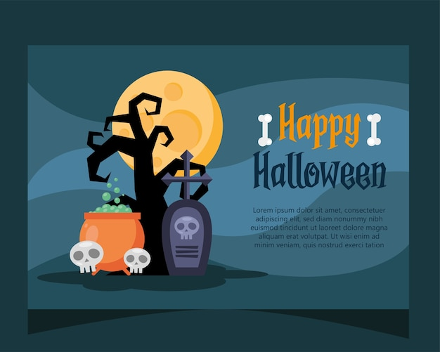 Happy halloween lettering card with cauldron and skulls vector illustration design