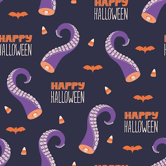 Happy halloween lettering, creepy tentacles, bat silhouette and candy corn seamless pattern. cute spooky dessert design. vector textile wallpaper in doodle flat cartoon style. scary holiday background
