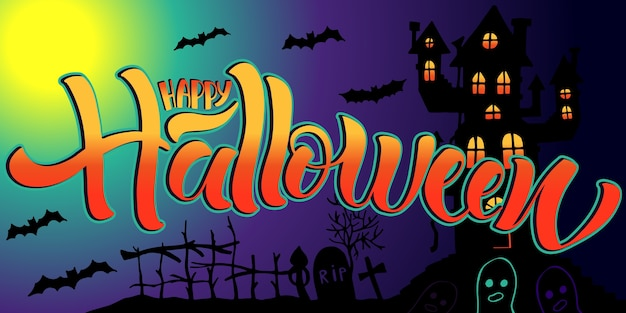 Happy halloween lettering, on dark background.