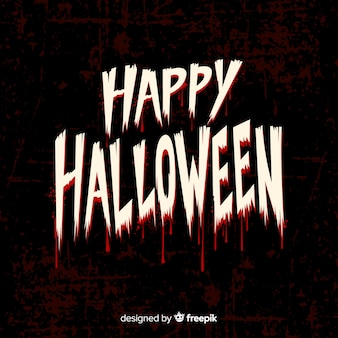 Happy halloween lettering font with blood