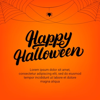 Happy halloween lettering greeting card with spider and cobweb