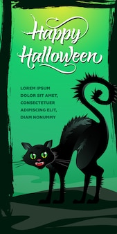 Happy halloween lettering. hissing black cat on green background
