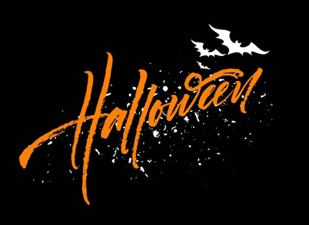 Счастливый хэллоуин надписи. праздничная каллиграфия для баннера, плаката, поздравительной открытки, приглашения на вечеринку. векторная иллюстрация eps10