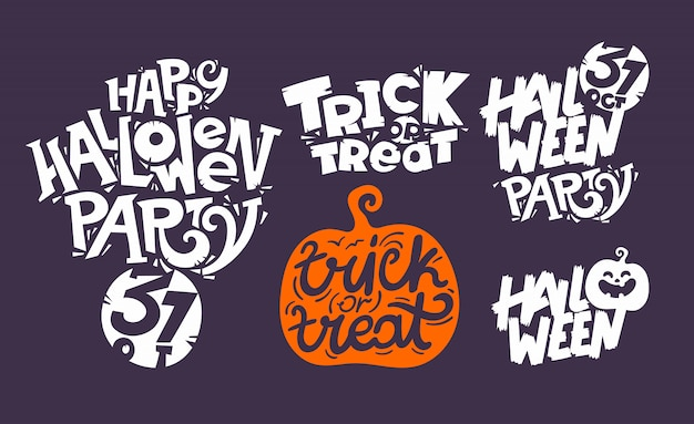 Happy halloween lettering inscription collection